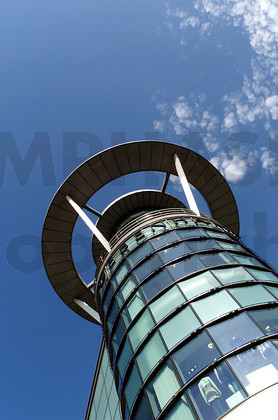 Tower, front detail of Bull Ring Shopping Centre against a blue sky - Birmingham, UK