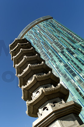 Chinese pagoda in front of the Raddison SAS Hotel, Beetham Tower on Suffolk St, Birmingham - UK