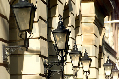 Street lights on Colmore Row - Birmingham, UK